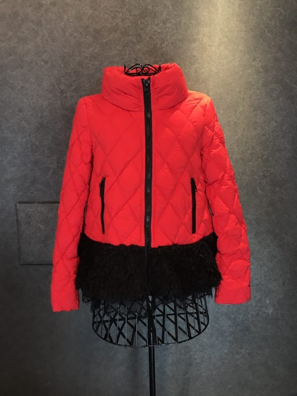 红色羽绒服 【小汉堡SoHot】YIYG 下摆拼接菱形格子羽绒服_推荐淘宝好看的红色羽绒服