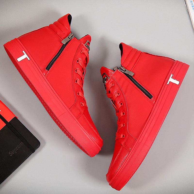 红色高帮鞋 冬季男士红色休闲鞋高帮鞋潮鞋棉鞋街舞鞋板鞋加绒保暖高帮男鞋子_推荐淘宝好看的红色高帮鞋