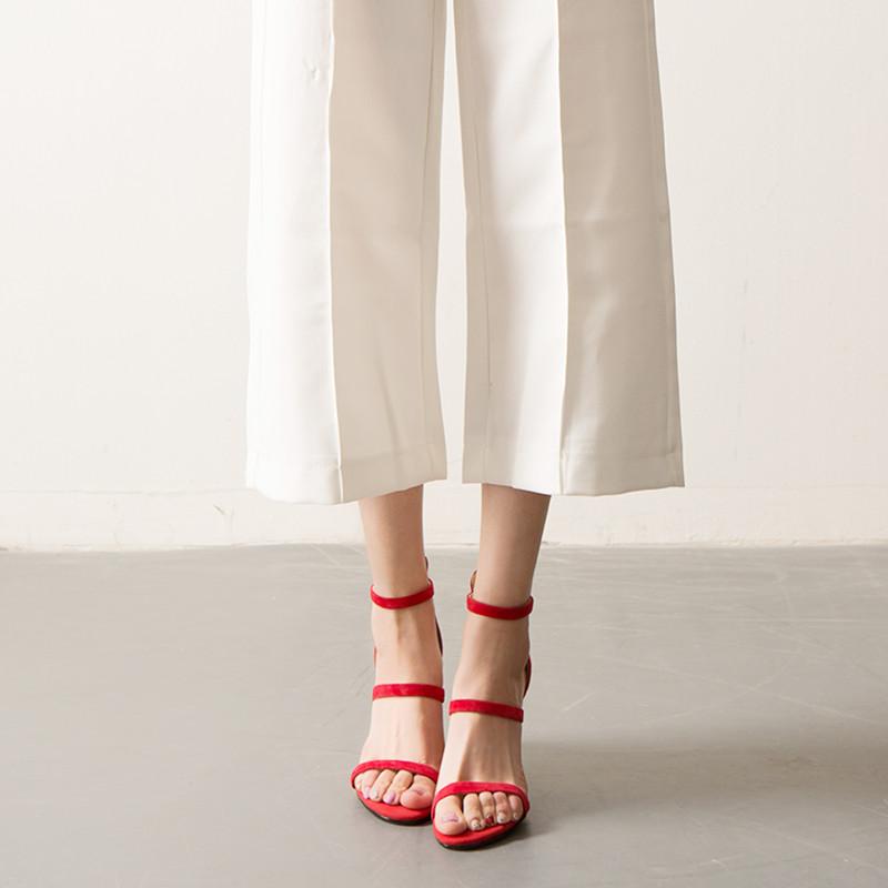 红色鱼嘴鞋 恰若夏真皮高跟露趾凉鞋细跟磨砂羊皮一字带女鞋细带红色高跟鞋_推荐淘宝好看的红色鱼嘴鞋