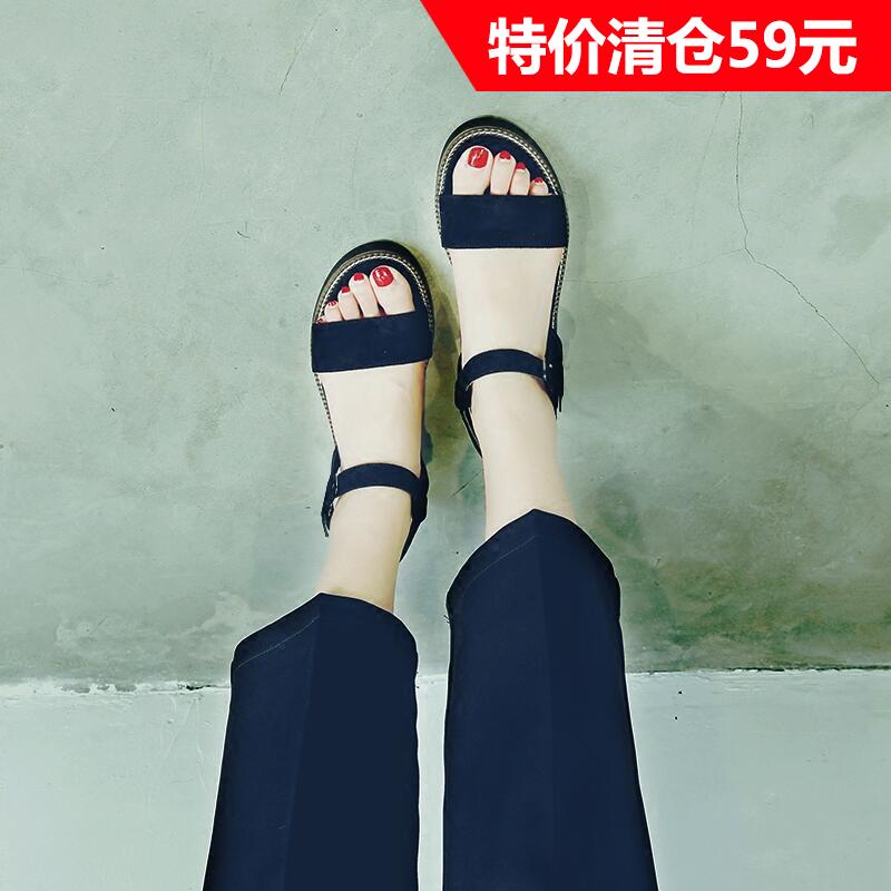 罗马坡跟鞋 凉鞋女夏季2017新款学生平底韩版中跟罗马坡跟厚底一字带百搭松糕_推荐淘宝好看的罗马坡跟鞋