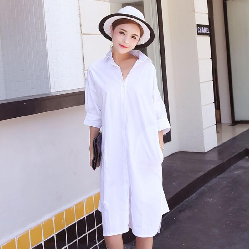 女士白色短袖衬衫 超长款宽松短袖衬衫2017春装新款韩版女装大码白色纯棉百搭衬衣_推荐淘宝好看的女白色短袖衬衫