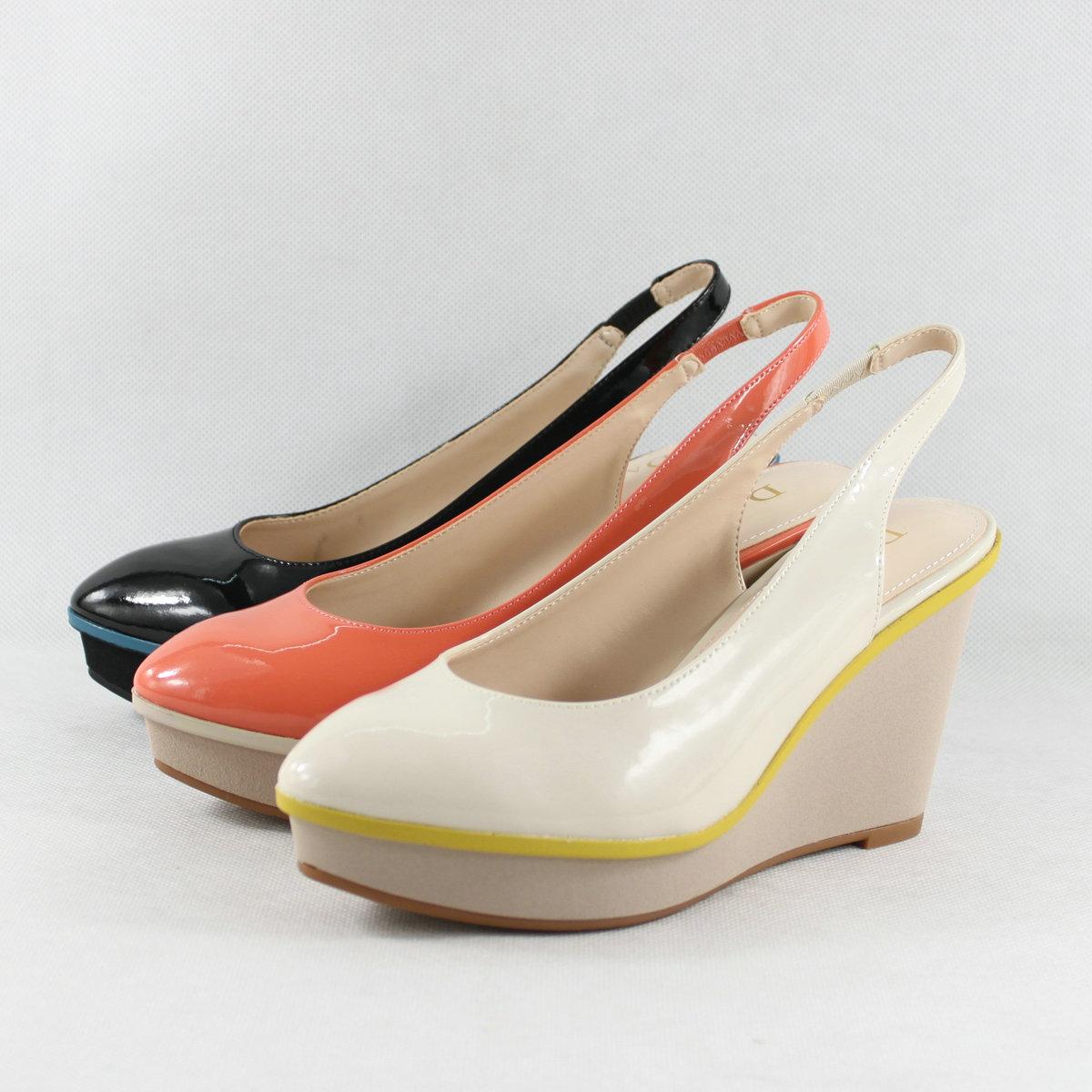 达芙妮坡跟鞋 Daphne达芙妮中空纯色亮面坡跟女单鞋1013102071_推荐淘宝好看的达芙妮坡跟鞋