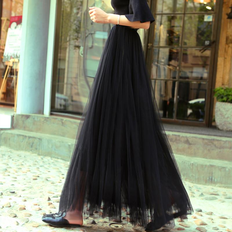 半身长裙子 夏季新款黑色网纱半身裙中长款女甜美高腰a字裙纱裙蓬蓬裙中长裙_推荐淘宝好看的半身长裙