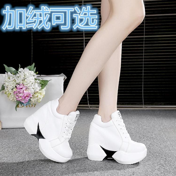白色松糕鞋 春秋韩版PU皮黑白色运动鞋休闲厚底松糕鞋12cm内增高超高跟单鞋潮_推荐淘宝好看的白色松糕鞋