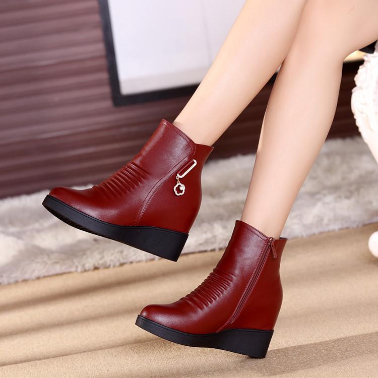 坡跟鱼嘴鞋 冬女式短靴真皮内增高中跟坡跟女皮鞋中年女靴妈妈棉鞋女鞋雪地靴_推荐淘宝好看的女坡跟