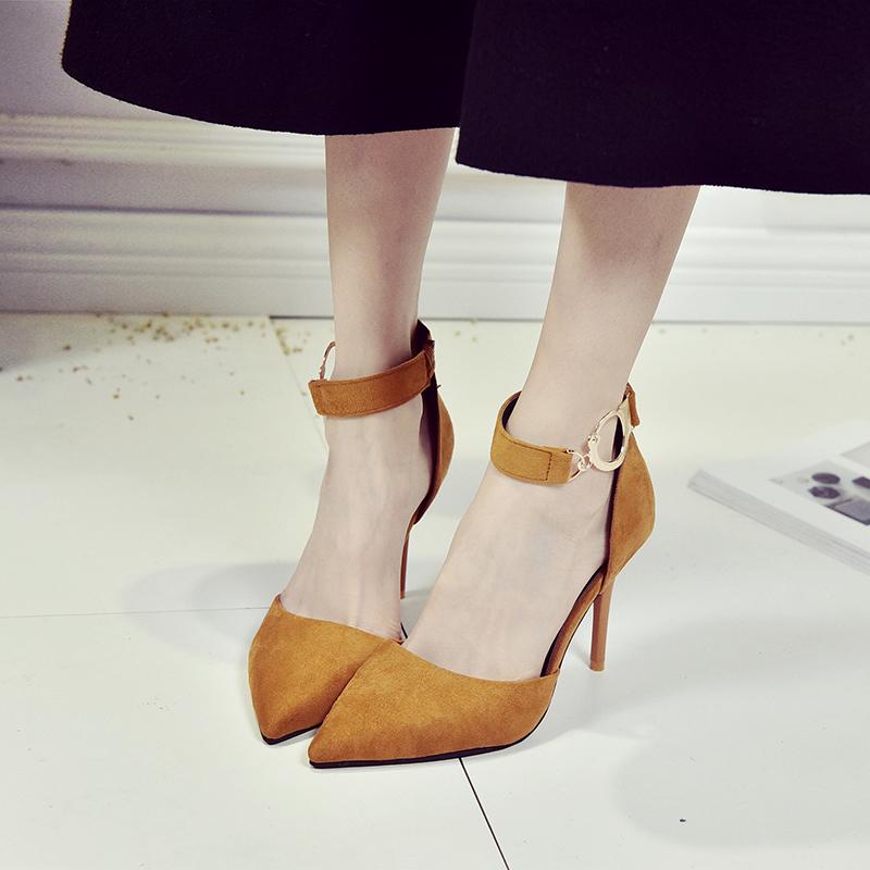 性感高跟鞋 2017春秋新款性感尖头高跟鞋细跟婚鞋浅口百搭女鞋一字扣带单鞋_推荐淘宝好看的女性感高跟鞋