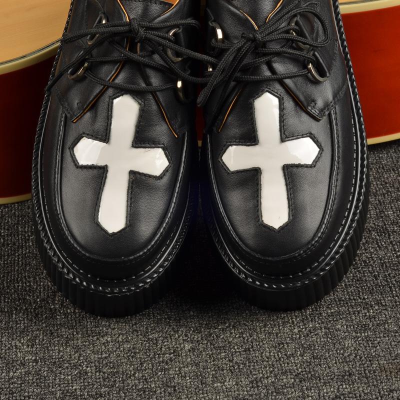 欧美松糕鞋 新款欧美朋克十字架铆钉单鞋潮女鞋真皮厚底鞋原宿松糕鞋增高_推荐淘宝好看的女欧美松糕鞋