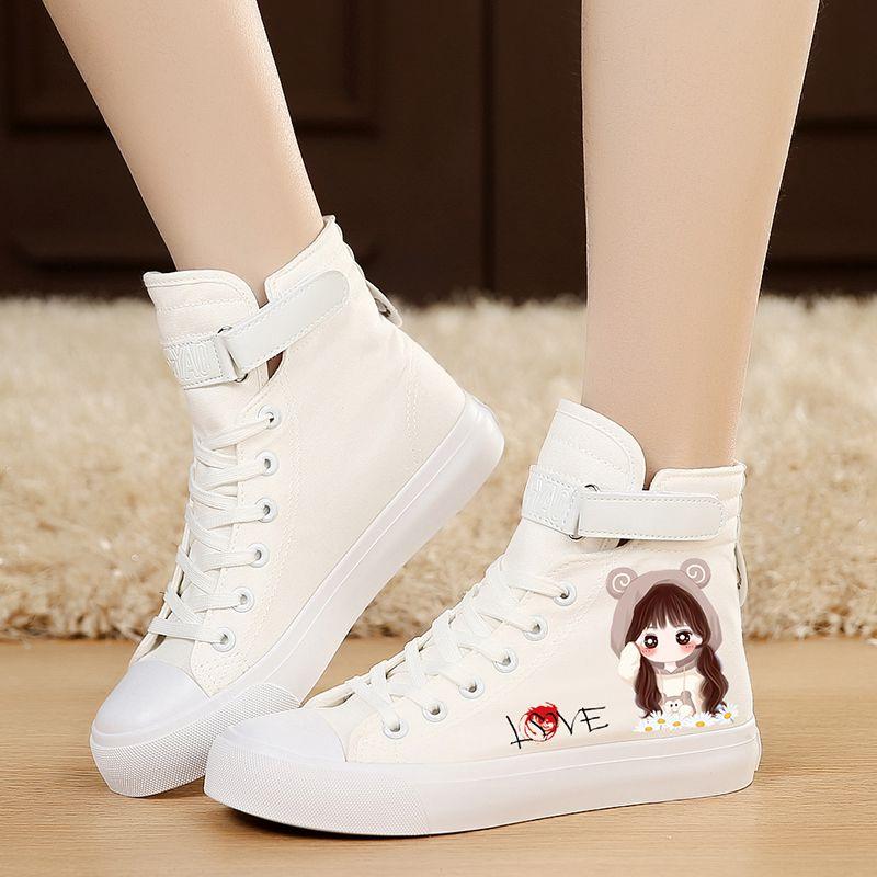 涂鸦帆布鞋 秋季新款白色高帮帆布鞋女学生韩版平跟百搭涂鸦平底布鞋休闲板鞋_推荐淘宝好看的女涂鸦帆布鞋