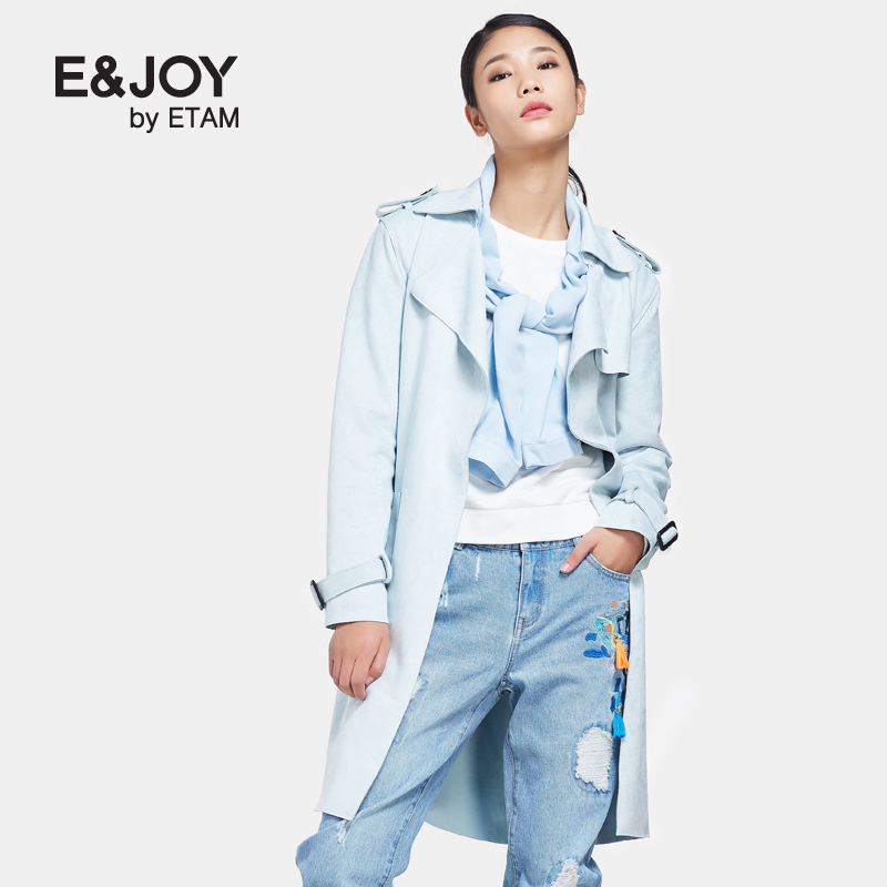 艾格风衣 Etam艾格 E&joy 2017春新品休闲时尚纯色中长款风衣170834014_推荐淘宝好看的艾格风衣