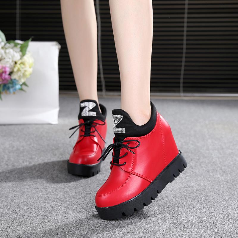 红色松糕鞋 16春秋季新款厚底松糕鞋隐形内增高8cm休闲红色系带韩版女鞋潮34_推荐淘宝好看的红色松糕鞋