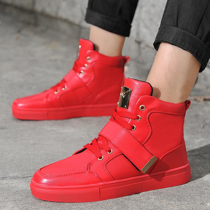 红色高帮鞋 春季男鞋白色高帮板鞋个性高腰街舞鞋韩版潮流休闲鞋潮男红色板鞋_推荐淘宝好看的红色高帮鞋