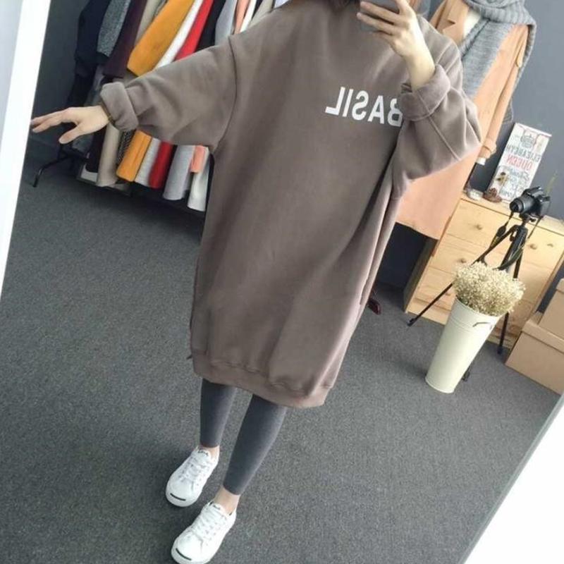 长款卫衣 2016秋冬新款韩版女装学生加厚宽松长袖套头加绒长款卫衣外套大码_推荐淘宝好看的女长款卫衣