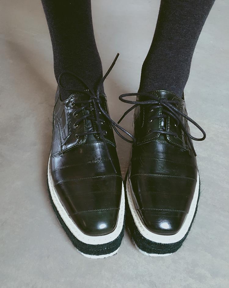 绿色松糕鞋 LIVAS 牛货推荐,新品真皮女鞋! 黑绿鳗鱼皮棕色松糕鞋 3-5厘米$_推荐淘宝好看的绿色松糕鞋