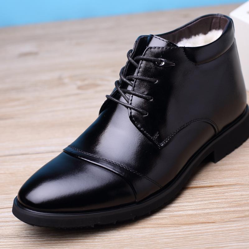 黑色高帮鞋 冬季男棉鞋男士真皮商务加绒保暖男鞋正装高帮皮鞋黑色系带上班鞋_推荐淘宝好看的黑色高帮鞋