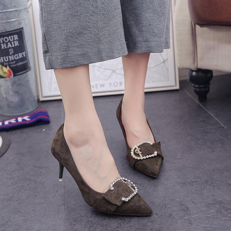 绿色高跟鞋 2017春秋新款女鞋韩版浅口尖头绿色高跟鞋细跟7cm方扣中跟单鞋夏_推荐淘宝好看的绿色高跟鞋