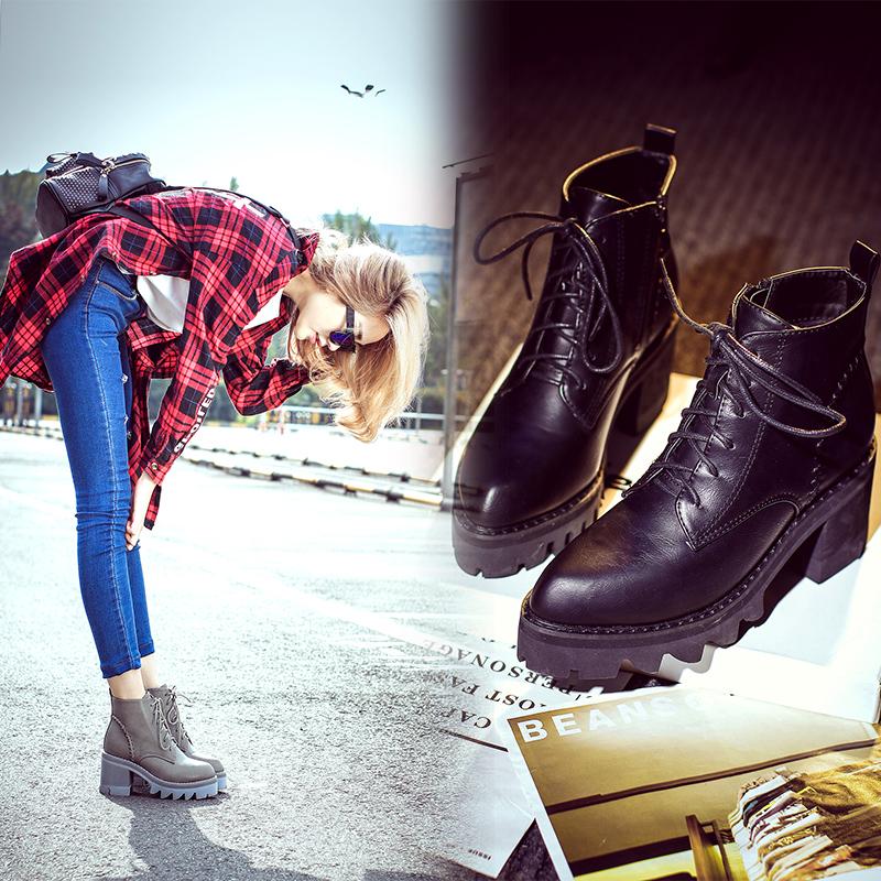 高跟厚底鞋 【天天特价】冬季尖头短靴粗跟马丁靴绑带侧拉链女靴厚底高跟女鞋_推荐淘宝好看的女高跟厚底鞋