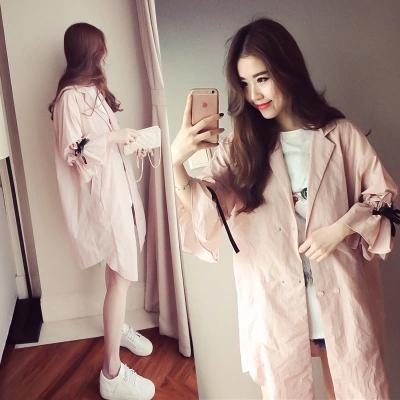 粉红色风衣 夏季新款宽松显瘦七分袖中长款薄外套包邮百搭防晒衣女学生风衣潮_推荐淘宝好看的粉红色风衣