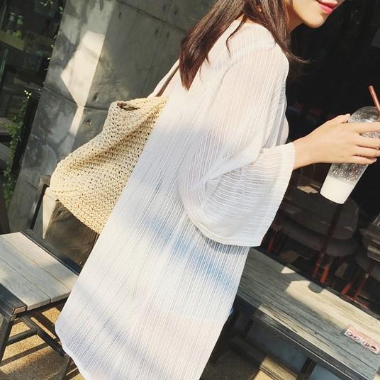白色雪纺衫 2017夏季新款韩版女装薄中长款雪纺防晒衣开衫外套柔美沙滩防晒衫_推荐淘宝好看的白色雪纺衫