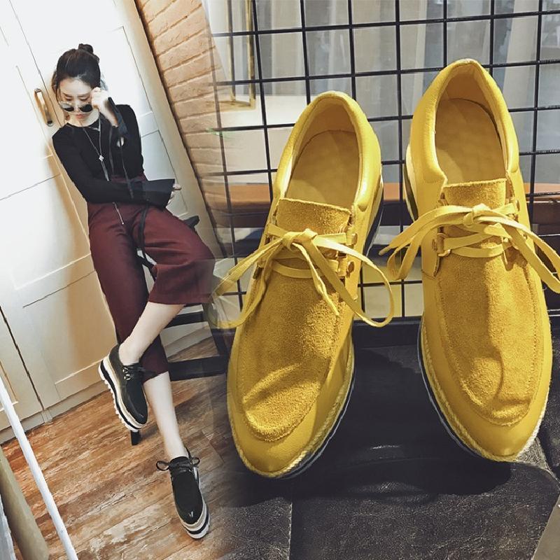 黄色松糕鞋 2017春秋款英伦坡跟单鞋女增高厚底系带百搭真皮休闲松糕鞋黑黄色_推荐淘宝好看的黄色松糕鞋