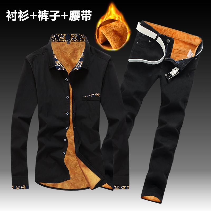 黑色衬衫 秋冬季男式韩版加厚长袖衬衫牛仔长裤子加绒套装修身潮流保暖衬衣_推荐淘宝好看的黑色衬衫