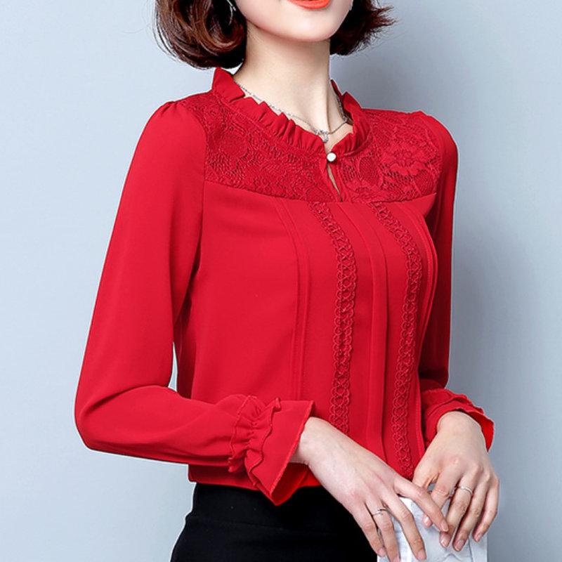 红色雪纺衫 雪纺衫长袖2017春秋冬装新款时尚百搭韩版女装宽松蕾丝白色上衣潮_推荐淘宝好看的红色雪纺衫