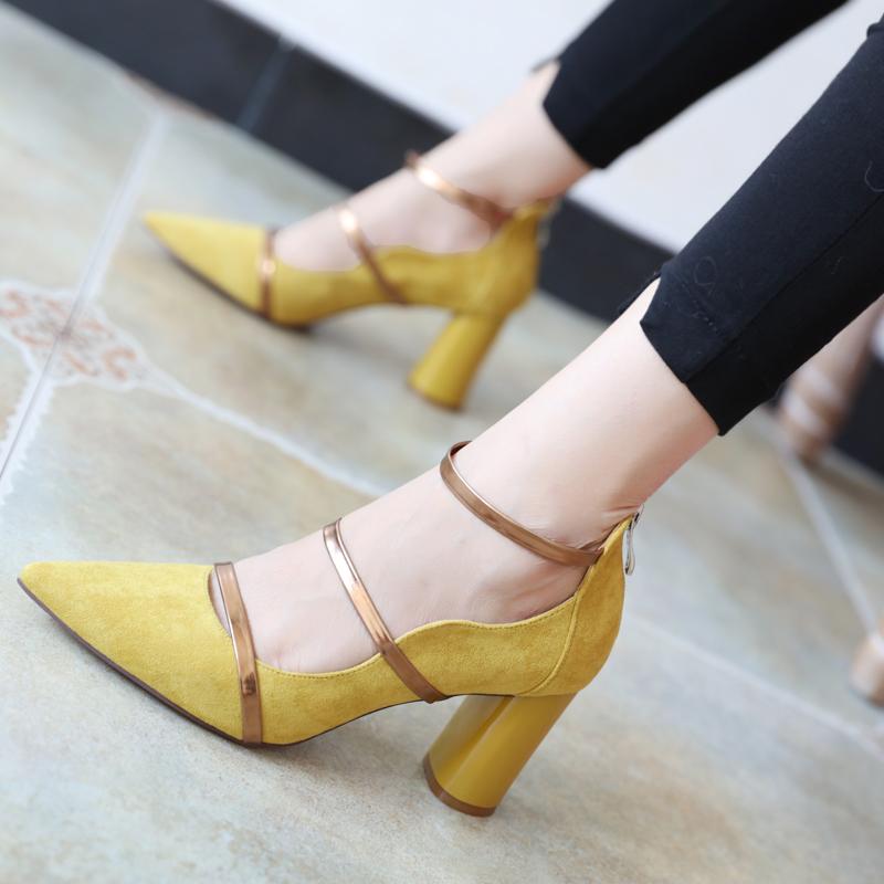 黄色罗马鞋 黄色百搭粗跟高跟鞋拉链拼接罗马鞋绒面时尚单鞋秋高跟鞋性感女鞋_推荐淘宝好看的黄色罗马鞋