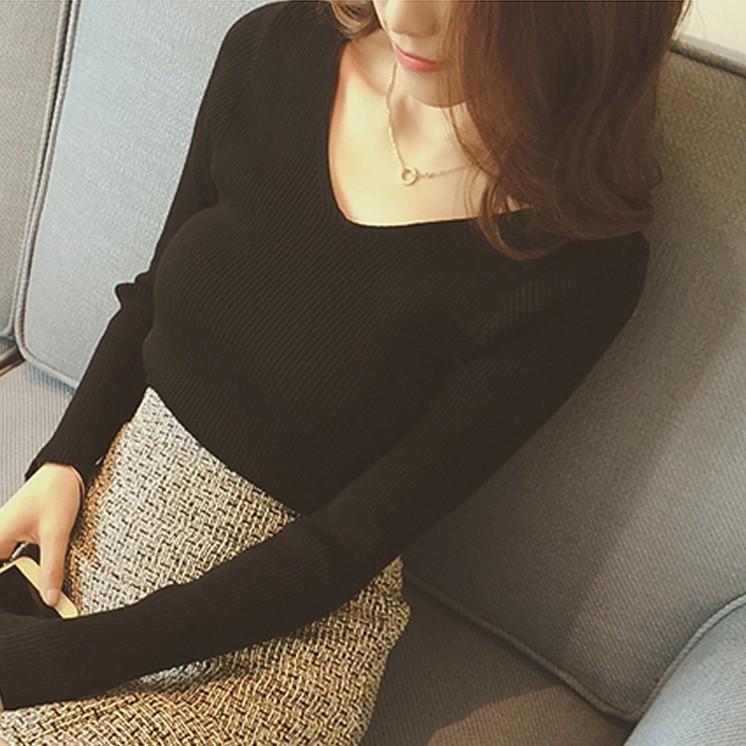 针织衫 韩版春秋季新款套头毛衣女修身针织打底衫短款长袖v领内搭上衣女_推荐淘宝好看的女针织衫