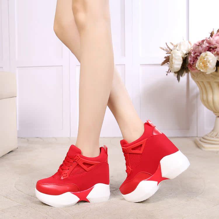 红色松糕鞋 韩国秋冬新款单鞋女士运动鞋红色休闲百搭内增高女鞋潮松糕超高跟_推荐淘宝好看的红色松糕鞋
