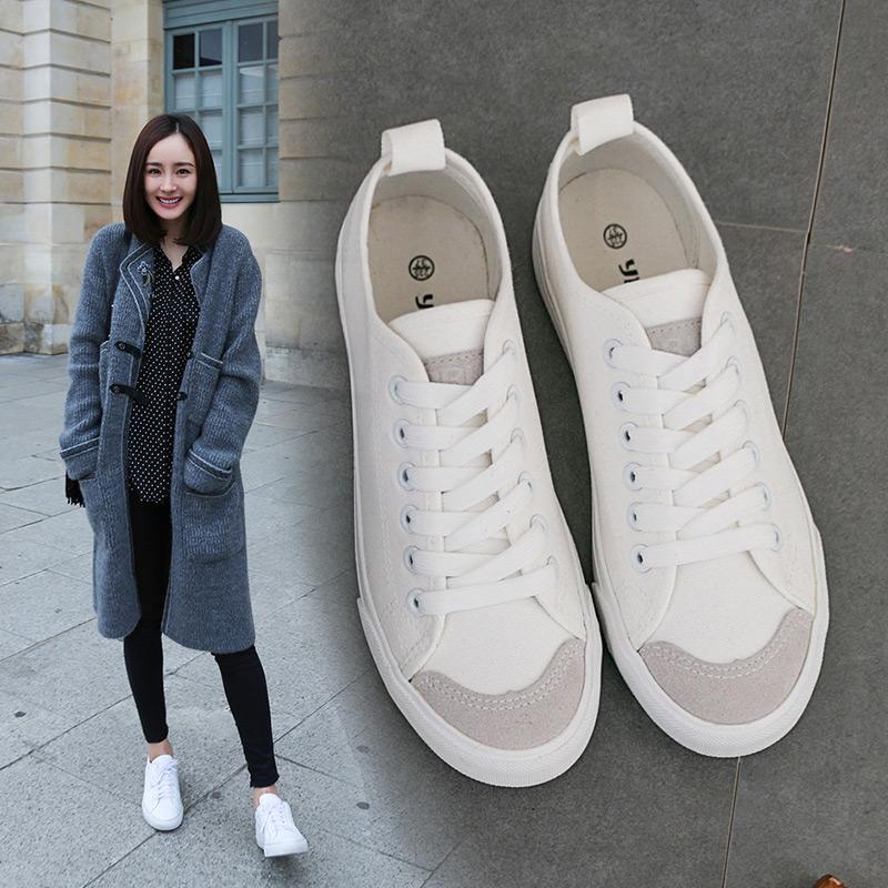 白色帆布鞋 明星同款夏秋季小白鞋女平底帆布鞋系带韩版白色布鞋学生百搭板鞋_推荐淘宝好看的白色帆布鞋