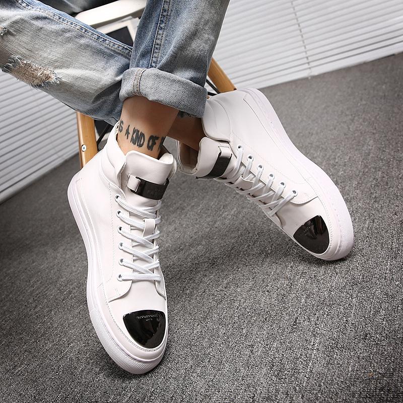白色高帮鞋 冬季潮男鞋子高帮鞋男白色板鞋韩版潮牌休闲鞋街舞鞋个性百搭潮鞋_推荐淘宝好看的白色高帮鞋