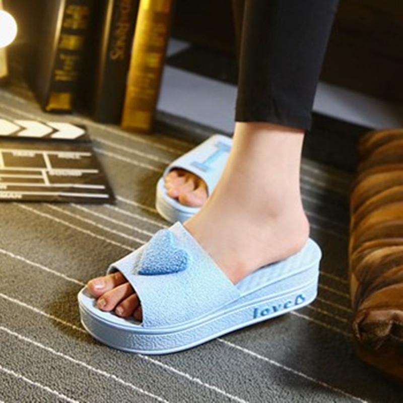 松糕厚底坡跟鞋 韩版时尚心形松糕跟坡跟凉拖鞋女室内外防滑厚底高跟拖鞋女鱼嘴鞋_推荐淘宝好看的女松糕厚底坡跟鞋