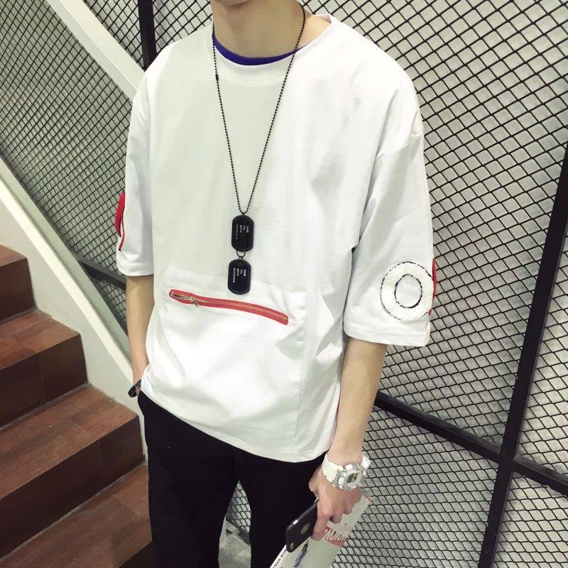 白色T恤 夏季七分袖中袖T恤男潮流韩版男士宽松短袖t桖衫日系5分袖T恤男装_推荐淘宝好看的白色T恤