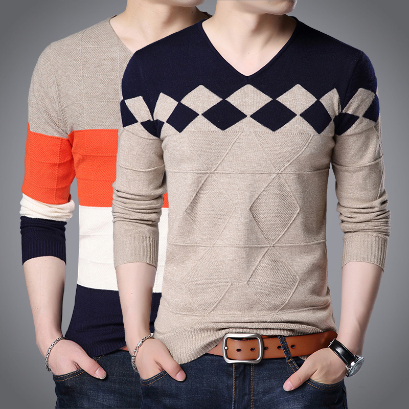 黑色T恤 男士秋季V领长袖T恤打底衫青年韩版修身毛衣男装潮流大码针织线衣_推荐淘宝好看的黑色T恤