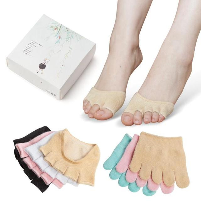丝袜高跟鞋 袜子五指袜女夏季纯棉高跟鞋隐形袜短袜半掌袜套船袜薄款脚趾女袜_推荐淘宝好看的女袜高跟鞋