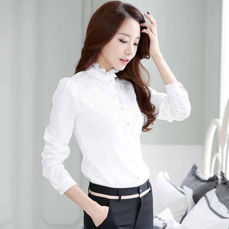 白色雪纺衬衫 新款衬衫女长袖加绒保暖大码打底衫上衣韩修身立领蕾丝衫雪纺衫_推荐淘宝好看的女白色雪纺衬衫