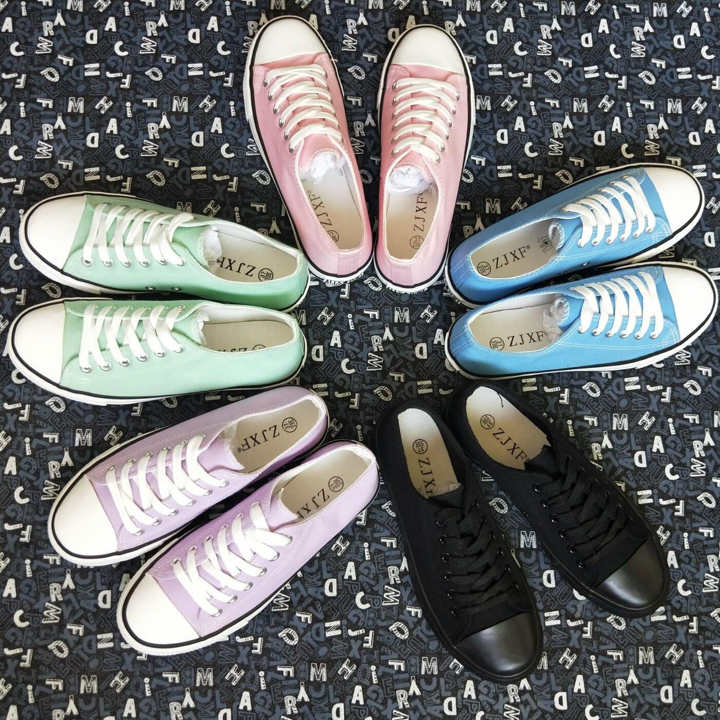 粉红色帆布鞋 彩色帆布鞋女鞋学生板鞋休闲百搭布鞋粉红色黑色浅蓝色深蓝色紫色_推荐淘宝好看的粉红色帆布鞋