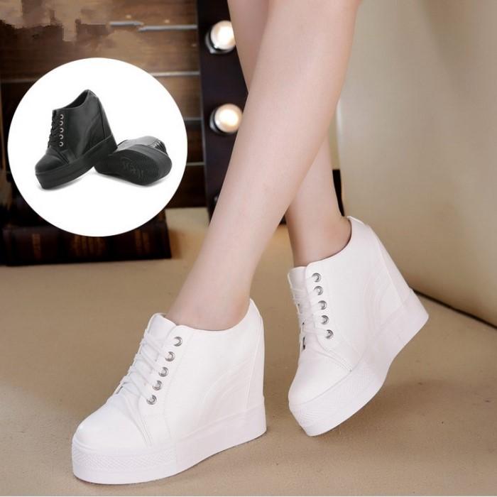 白色松糕鞋 秋冬天新款内增高女鞋10cm厚底坡跟34码白色运动休闲鞋松糕单鞋_推荐淘宝好看的白色松糕鞋