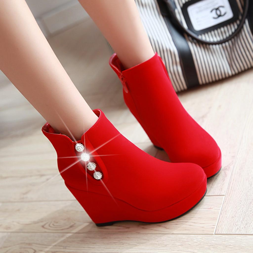 孕妇坡跟鞋 秋冬季厚底超高跟坡跟短靴性感女靴敬酒红鞋孕妇新娘鞋红色结婚鞋_推荐淘宝好看的孕妇坡跟鞋