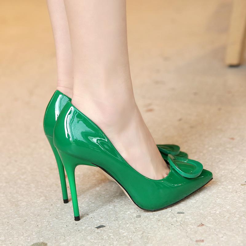 绿色尖头鞋 内防水台尖头高跟鞋绿色 10cm超细跟漆皮浅口单鞋 春秋款女鞋橙色_推荐淘宝好看的绿色尖头鞋
