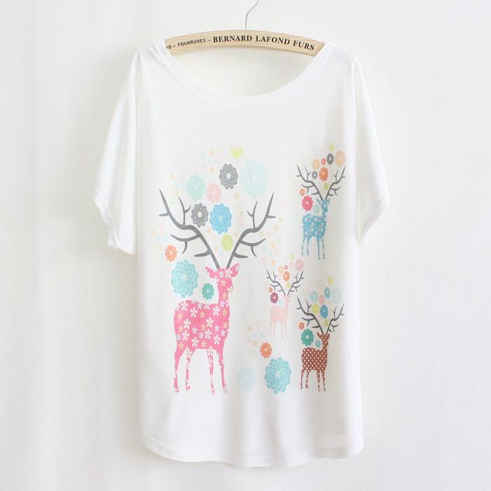 韩版手绘t恤 1114新款夏季日韩版女装手绘卡通小鹿女式宽松大码蝙蝠衫短袖T恤_推荐淘宝好看的女韩版手绘t恤