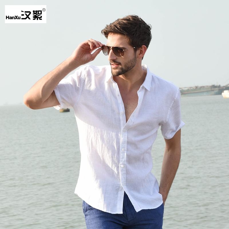 男士短袖衬衫 汉絮夏季亚麻短袖衬衫男修身大码麻料开衫休闲白色棉麻衬衣纯色薄_推荐淘宝好看的男短袖衬衫