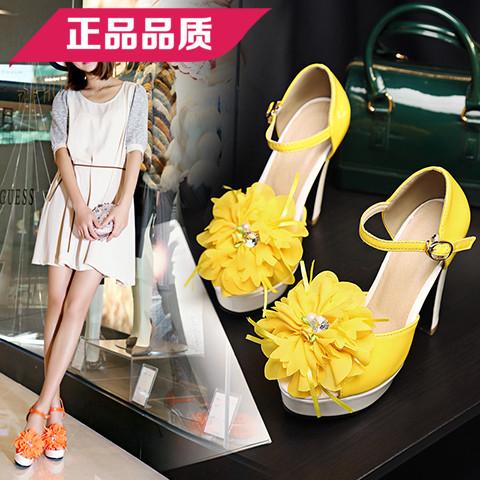 黄色鱼嘴鞋 新款韩版夏季黄色花朵高跟鱼嘴鞋桔色脚环绑带大码凉鞋绿色演出女_推荐淘宝好看的黄色鱼嘴鞋
