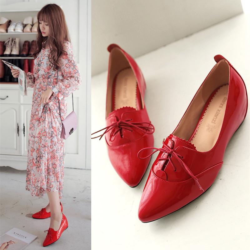 女士坡跟鞋 春季新款真皮尖头红色单鞋女系带英伦风小皮鞋潮内增高平底鞋坡跟_推荐淘宝好看的女坡跟鞋