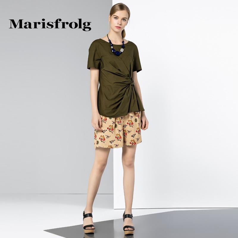 玛丝菲尔女装 Marisfrolg玛丝菲尔女装时尚碎花休闲裤桑蚕丝短裤外穿专柜正品_推荐淘宝好看的玛丝菲尔