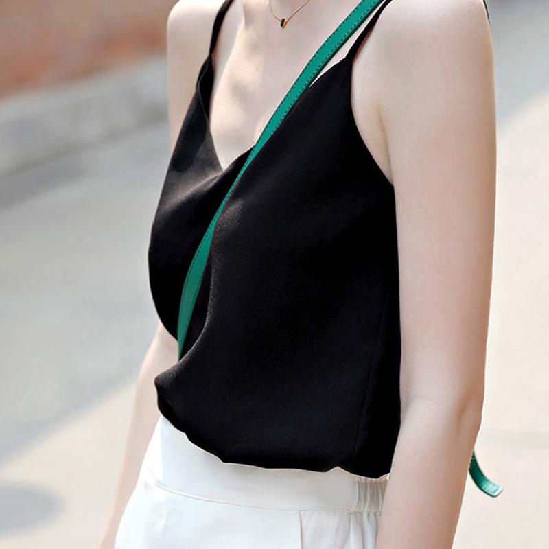 无袖t恤衫 吊带背心 夏季V领宽松百搭短款内搭外穿打底t恤 雪纺衫女无袖上衣_推荐淘宝好看的女无袖t恤衫