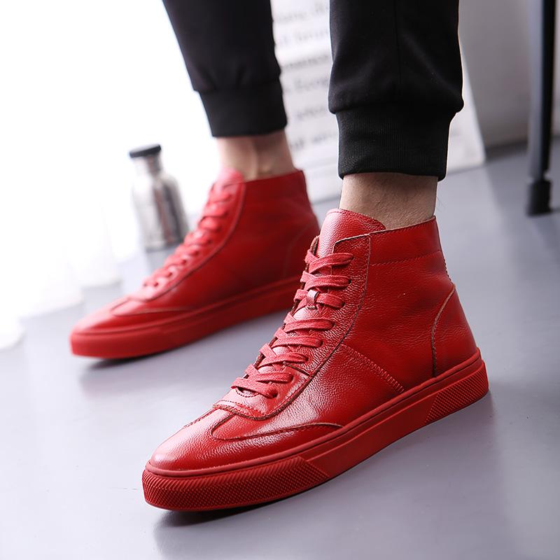 红色高帮鞋 秋冬新款潮流真皮加绒短靴男韩版时尚红色高帮鞋发型师内增高潮鞋_推荐淘宝好看的红色高帮鞋