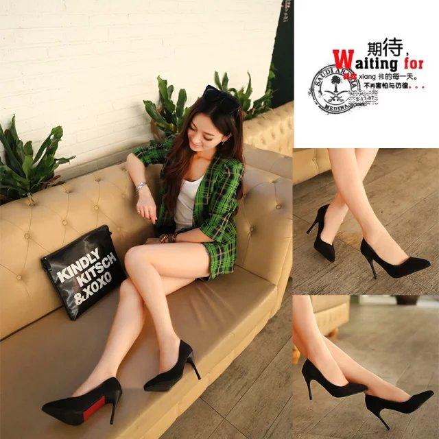 细高跟单鞋 韩版公主鞋 OL工作鞋 尖头高跟鞋细跟红色婚鞋女 浅口方口鞋单鞋_推荐淘宝好看的女细高跟单鞋