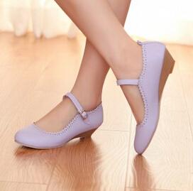 紫色坡跟鞋 韩国紫色小皮鞋伴娘鞋中跟搭扣甜美通勤女鞋坡跟单鞋女式鞋子春_推荐淘宝好看的紫色坡跟鞋