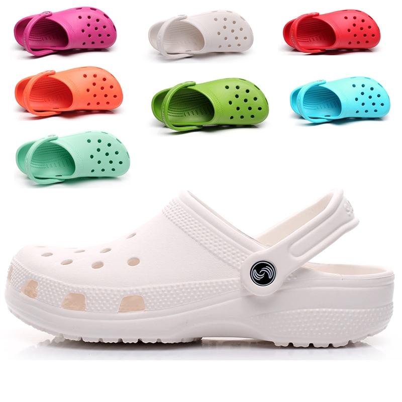 白色凉鞋 洞洞鞋女夏季凉拖鞋防滑白色护士鞋包头沙滩凉鞋40大码41-42-43码_推荐淘宝好看的白色凉鞋