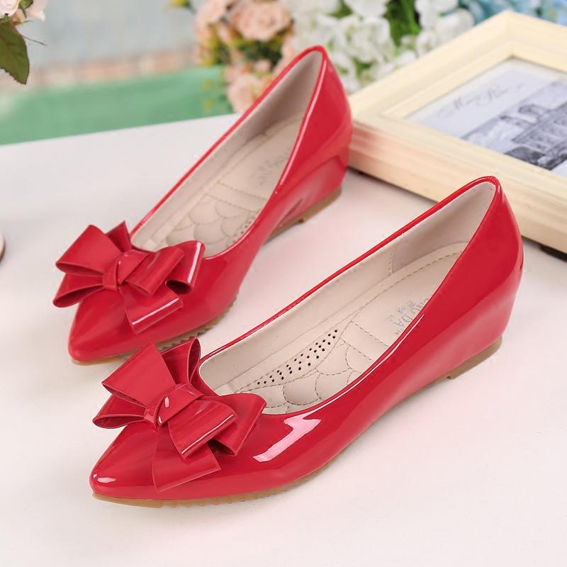 红色豆豆鞋 红色瓢鞋坡跟内增高春秋蝴蝶结淑女软底尖头单鞋漆皮豆豆鞋女中跟_推荐淘宝好看的红色豆豆鞋